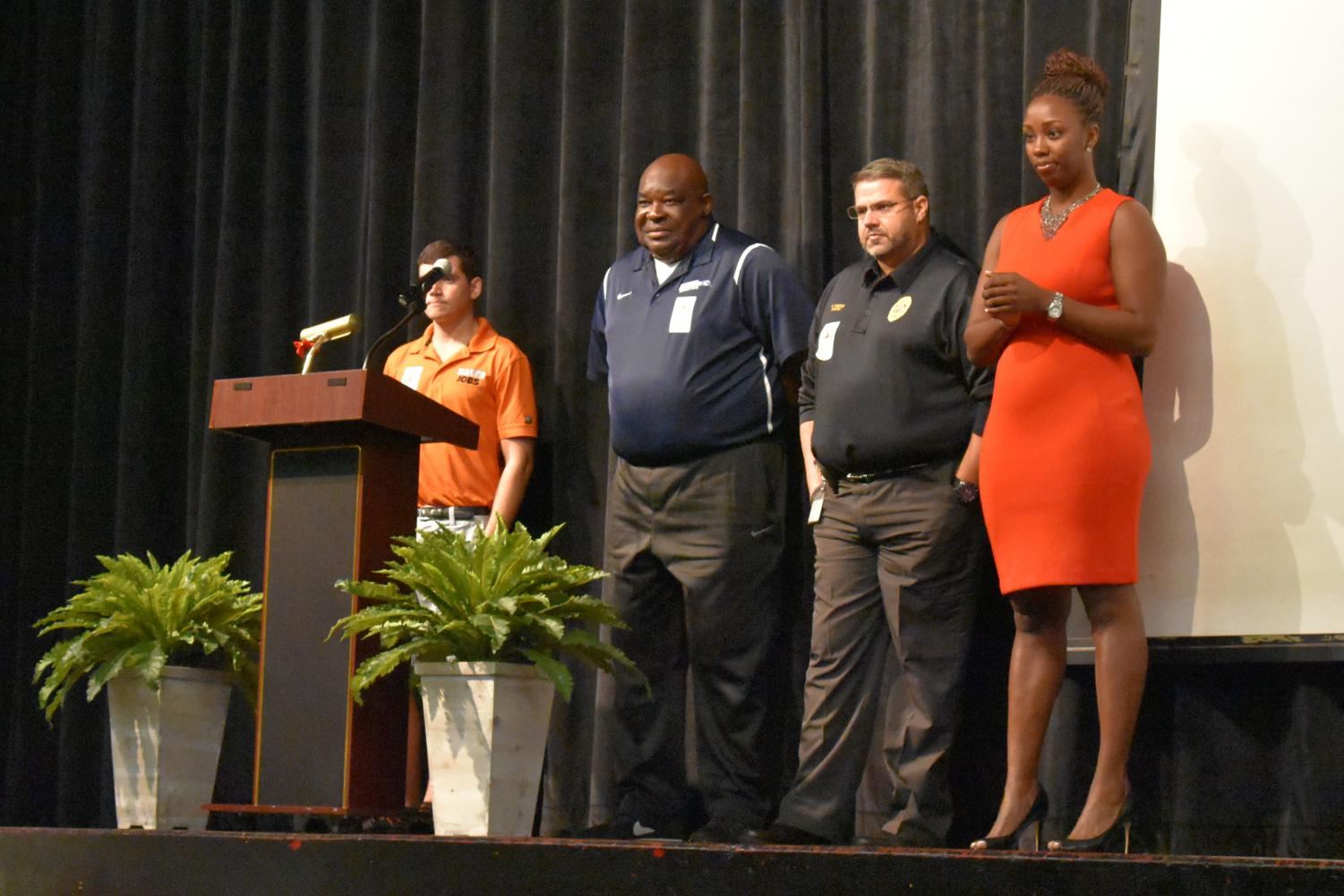 The speakers at the PASL pep rally.