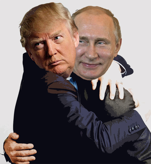 Donald+Trump+and+Vladimir+Putin+are+shown+to+be+hugging+in+this+photoshopped+picture.