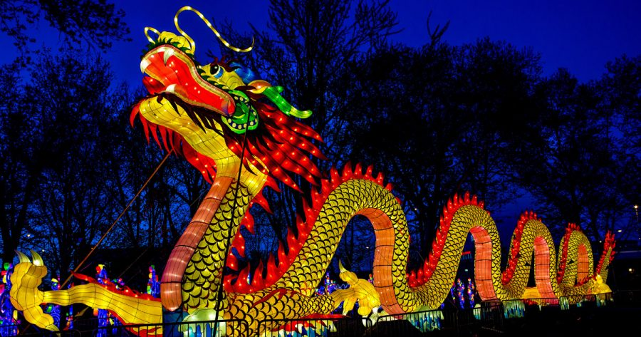 This is a dragon float from a Chinese Lantern Festival being held in Philadelphia. in 2017.