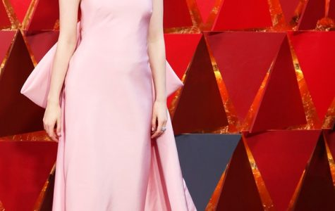 Saoirse Ronan with her pretty pink dress.