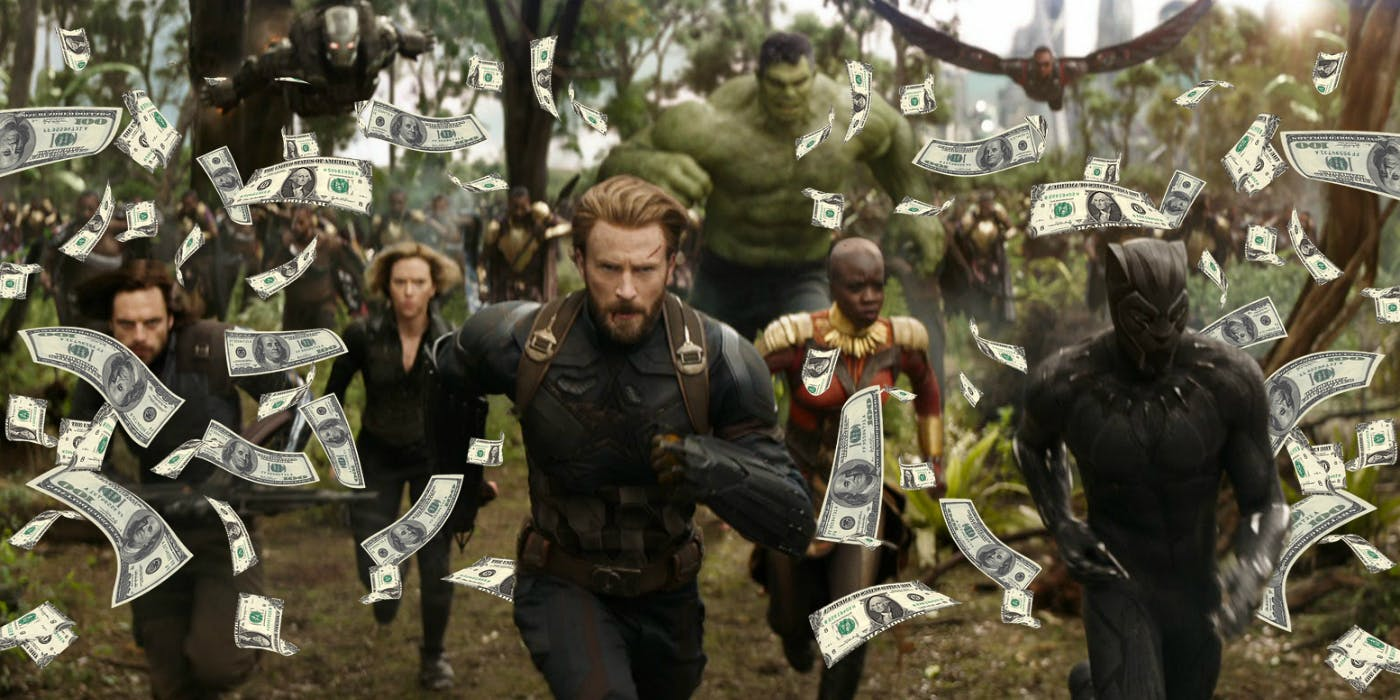 A scene from the Avengers: Infinity War trailer that was edited to depict money falling from the sky.