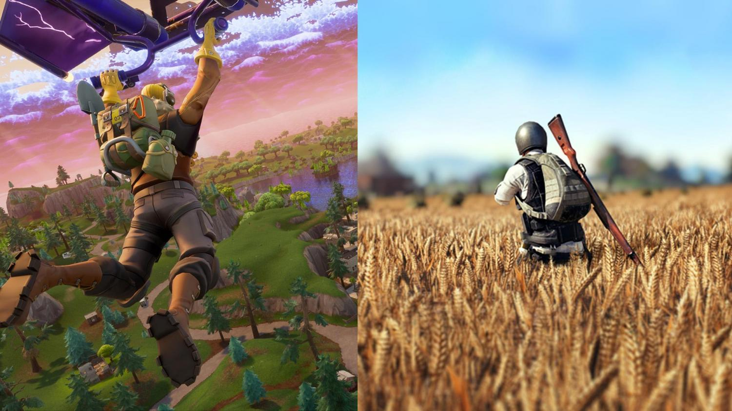 On the left is Fortnite on the right is PUBG (Player Unknowns Battleground.)