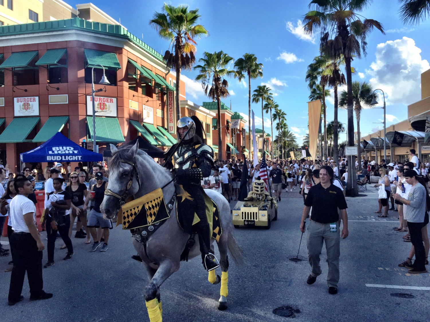 UCF+Knights+mascot+rides+around+campus+in+the+spirit+of+family+weekend.