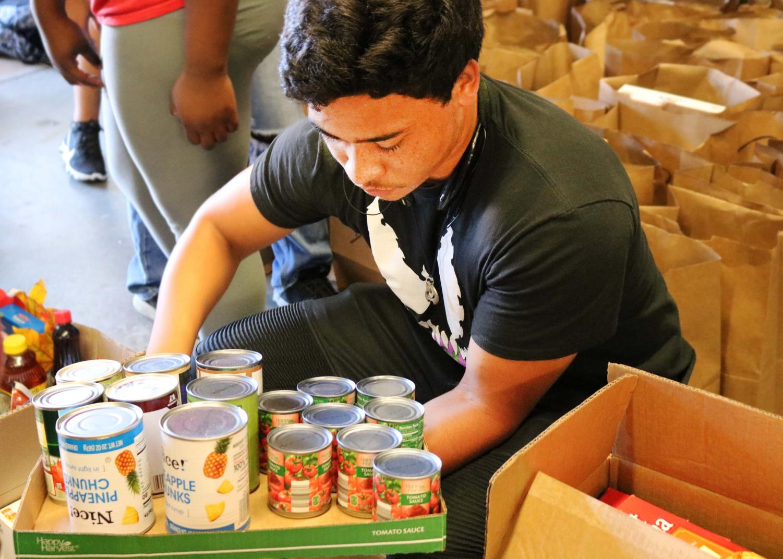 Twelfth grader helps sort donated items