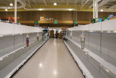 Due to the Coronavirus people are panicking and clearing out the shelves in stores.