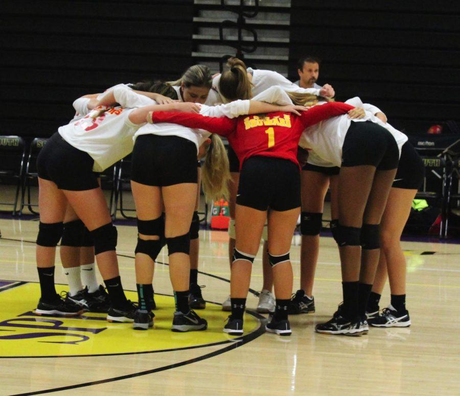 SBHS Girls Volleyball Team Huddle.