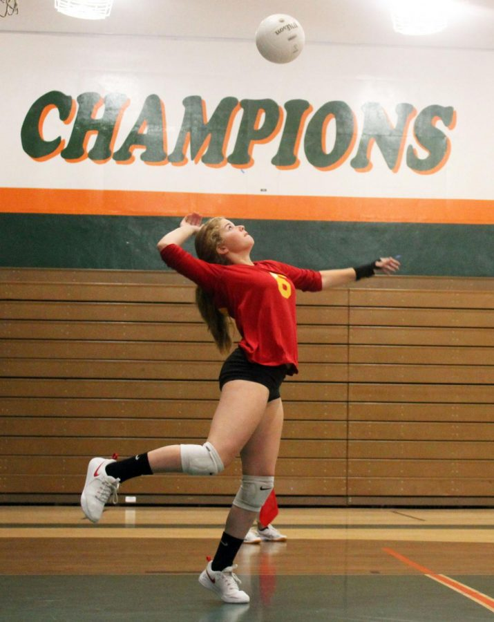 Mikah Combs a 10th grader Middle Blocker and opposite goes for a serve recieving gamepoint.