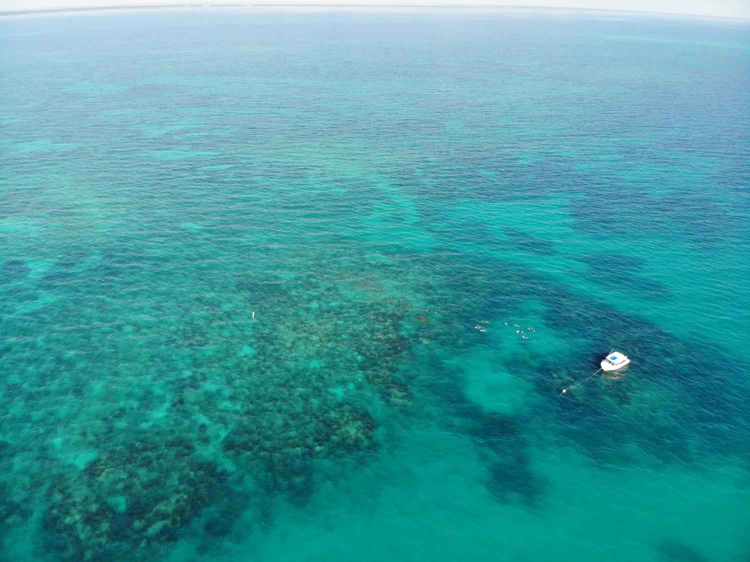 Drone footage of Island Ventures boat anchored on the outskirts on Grecian Rock reef.