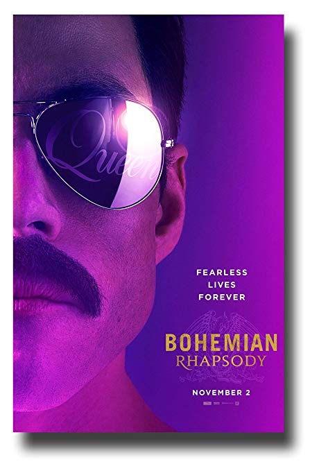 Rami Malek posing as Freddie Mercury on a Bohemian Rhapsody movie poster.