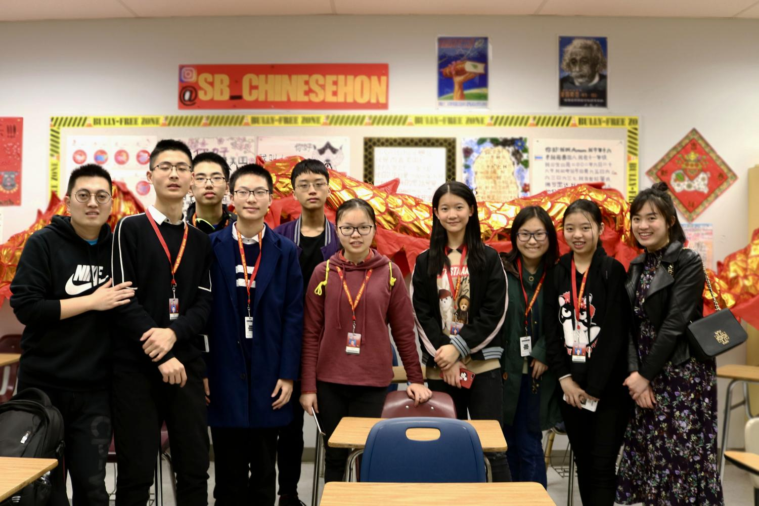 Eight students and two chaperones which traveled from China on a school trip to learn about America and how our country is.