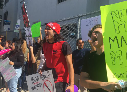SouthBroward students outside the school, protesting the NRA after the MSD shooting last year.