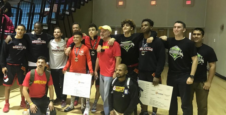 The SBHS wrestling team at the regional tournament.