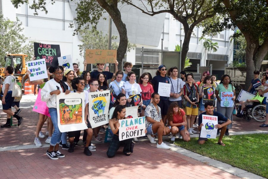 South Broward High School Students pose for a group picture after participating in the Global Youth Climate Strike in Fort Lauderdale, FL, on September 20, 2019. The students pictured here missed school to protest Climate Change and use their voices to raise awareness and pressure their community and state leaders to work towards positive change.