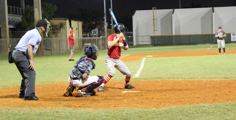 South Broward high school varsity baseball player Luke Valenchis gets ready to hit the ball at a home game during Fall Ball 2019.
