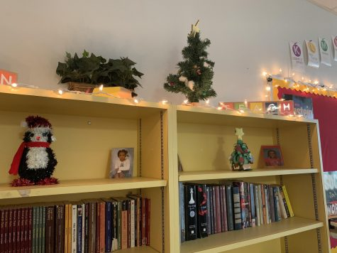Little pine cone trees are standing on tables and bookshelves.