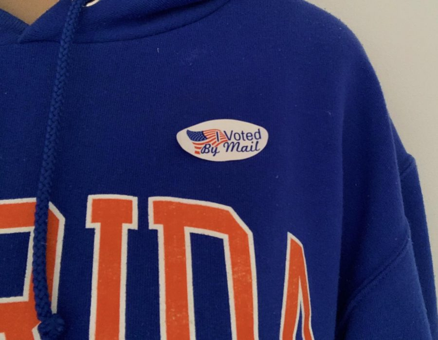 Caleb Cazacu, 18, wears his sticker proudly after voting in the 2020 election.
