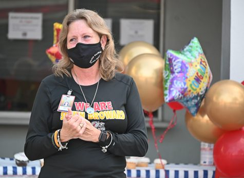 SBHS Marine Magnet Coordinator Debra Hixon is honored during a farewell celebration on Friday, Nov. 13. A SBHS graduate herself, Hixon worked at the school for 27 years and would be moving on to becoming a member of the Broward County School Board after she won a run-off election on Nov. 4.