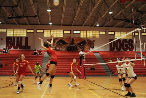 Isabel Gleeson, SBHS senior, gets a set and puts the ball away.