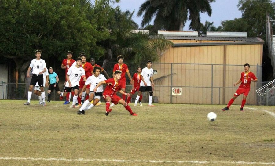 Senior, Justin Meyer blocks an Everglades player from receiving the ball. South Broward's team took possession of the ball and brings it back towards Everglades' goal. Nico Robles was the player who scored the only goal for South Broward in this game.