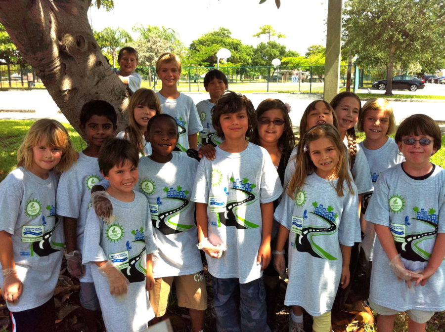 Shane McVey, far left, with his second-grade class participating in a trash pick-up around Hollywood Hills Elementary.