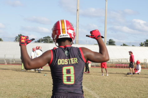Jaquan Doster stands proud before a football game.